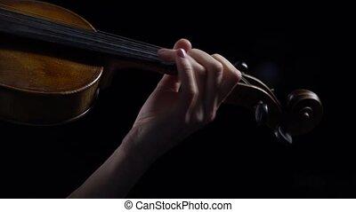 haut., jouer, doigté, violin., fond, fin, girl, instruments à cordes, noir