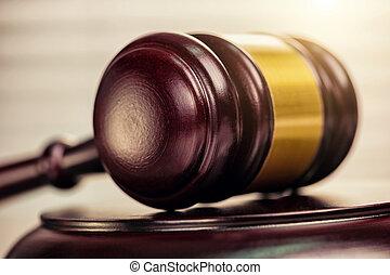 haut, juge, livres, salle audience, fond, marteau, fin, droit & loi