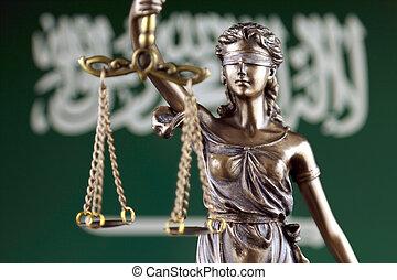 haut., justice, flag., symbole, arabie saoudite, fin, droit & loi