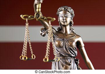 haut., justice, flag., symbole, lettonie, fin, droit & loi