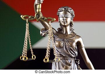 haut., justice, flag., symbole, soudan, fin, droit & loi