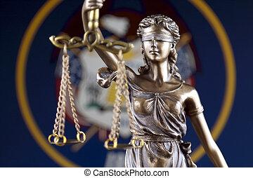 haut., justice, flag., symbole, utah etat, fin, droit & loi