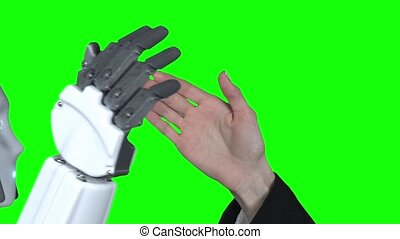 haut., lent, donner, vert, robot, motion main, femme, cinq,...
