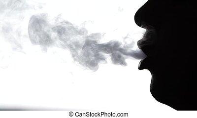 haut, lent, silhouette, mouvement, fumée, fin, bouche, homme