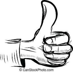 "haut, ""like"", symbole, pouce, main"