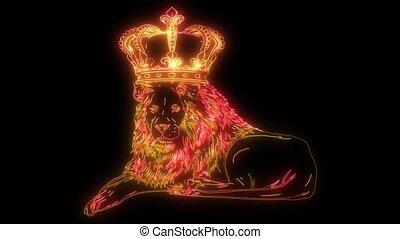haut, lion, animation, numérique, éclairage, style, couronne...