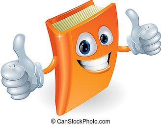 haut, livre, caractère, dessin animé, pouces