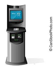 haut., machine, eps10, terminal, illustration, isolé, arrière-plan., vecteur, publicité, automatisé, blanc, stand, caissier, paiement, railler, 3d