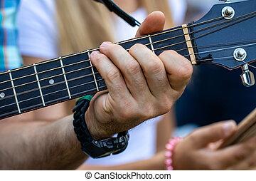 haut, main, guitare, guitar.practicing, fin, jouer, homme