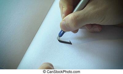haut, main, papier, dessiné, fin, blanc, calligraphie