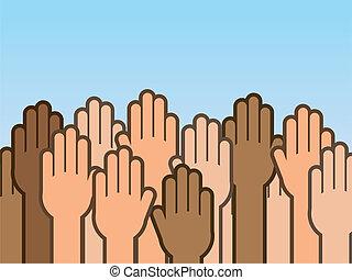 haut, mains, beaucoup