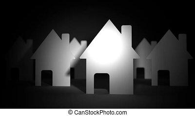 haut, maisons, papier, arrière-plan noir, fin