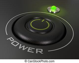 haut, mené, puissance, personnel, lumière, sur, informatique, fond, vert, image, bouton, noir