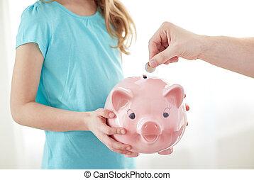 haut, mettre, porcin, fin, girl, banque pièce monnaie