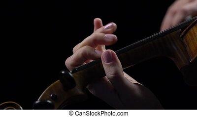 haut, musicien, doigts, tamiser, arrière-plan noir, fin, violon