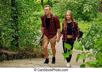 haut, nature, parks., couple, aller, skateboarders