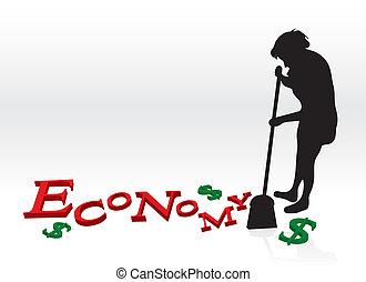 haut, nettoyage, économie