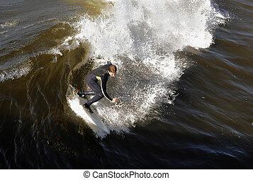 haut, obtient, surfeur, wave.