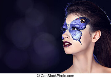 haut., papillon, mode, art, faire, maquillage, figure, beau, portrait., woman.