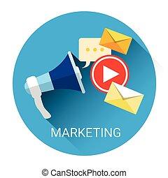 haut-parleur, affaires enchaînement, commercialisation, numérique, porte voix, icône