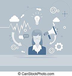 haut-parleur, affaires femme, femme affaires, numérique, commercialisation, porte voix