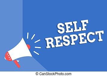haut-parleur, bleu, confiance, concept, soi-même, haut, texte, soi, important, vous-même, fierté, signification, loud., stand, fond, porte voix, message, écriture, respect., écriture, parler