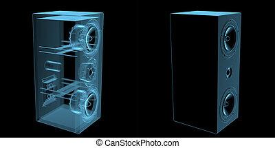 haut-parleur, bleu, isolé, noir, transparent, rayon x
