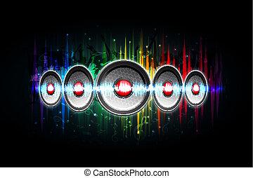 haut-parleur bruyant, sur, musical, fond