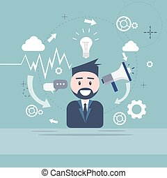 haut-parleur, business, commercialisation, numérique, homme affaires, porte voix, homme