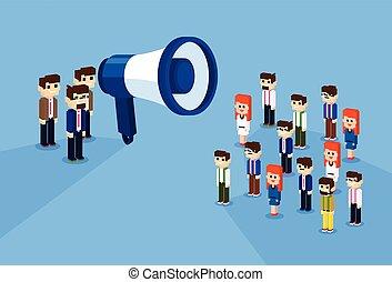 haut-parleur, collègues, groupe, professionnels, isométrique, businesspeople, conception, équipe, homme affaires, porte voix, éditorial, 3d