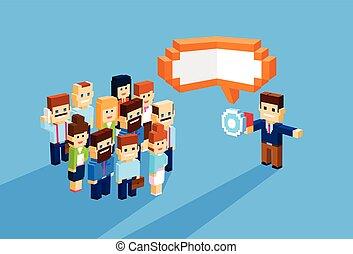 haut-parleur, collègues, porte voix, groupe, professionnels, businesspeople, patron, équipe, homme affaires, prise, éditorial