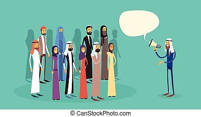 haut-parleur, collègues, porte voix, groupe, professionnels, musulman, patron, arabe, bavarder, équipe, homme affaires, arabe, prise, bulle