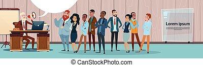 haut-parleur, collègues, porte voix, groupe, professionnels, patron, mélange, course, équipe, homme affaires, prise