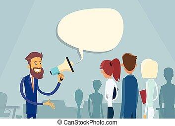haut-parleur, collègues, porte voix, patron, homme affaires, prise