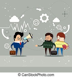 haut-parleur, collègues, porte voix, professionnels, patron, équipe, homme affaires, prise, éditorial