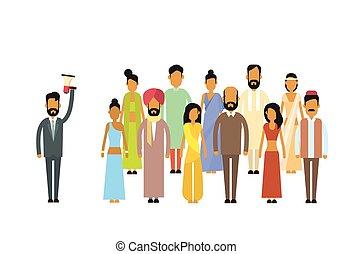 haut-parleur, collègues, prise, groupe, professionnels, inde, patron, indien, équipe, homme affaires, porte voix