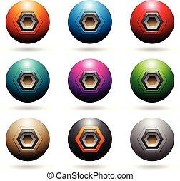 haut-parleur, coloré, icônes, illustration, formes, sphère, vecteur, gaufré, hexagone