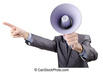 haut-parleur, cris, hurlement, homme