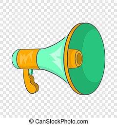 haut-parleur, icône, style, vert, dessin animé
