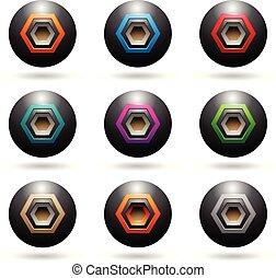 haut-parleur, icônes, illustration, formes, sphère, vecteur, noir, gaufré, hexagone