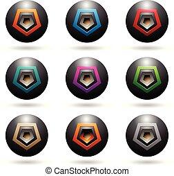 haut-parleur, icônes, illustration, formes, sphère, vecteur, noir, gaufré, pentagone