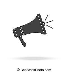 haut-parleur, isolated., icon., porte voix, vecteur