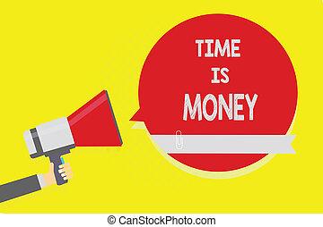 haut-parleur, mieux, concept, texte, temps, argent., possible, jaune, rapidement, retard, arrière-plan., signification, parole, tenue, choses, pas, écriture, porte voix, bulle, rouges, homme