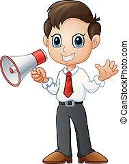 haut-parleur, onduler, dessin animé, tenue, homme affaires