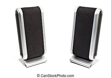 haut-parleur ordinateur, isolé, blanc