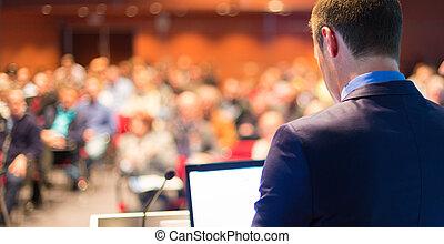 haut-parleur public, à, business, conference.