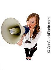 haut-parleur, sommet, tenue, femme, vue