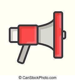 haut-parleur, son, concept, icône, illustration, eps, plat, vecteur, porte voix, 10