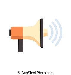 haut-parleur, son, porte voix, concept, icône