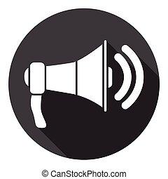 haut-parleur, toile, porte voix, icône